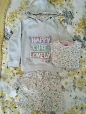 Floral beige denim skirt, T-shirt, hoodie and pink shorts set from F&F Age 5-6