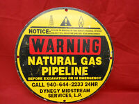 "Vintage Natural Gas Pipeline 12"" Metal Sign Oil & Gas Double Sided"