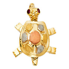 Real 14K Tri Tone Gold Sea Turtle Empty Shell Color CZ Eye Vintage Pendant Charm