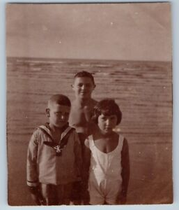 1930s LITTLE GIRL BOYS Sea Beach Sailor suit Friends Pose OLD Russian Photo