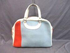Auth JACQUES LE CORRE White Light Blue Orange Cotton &  Leather Handbag