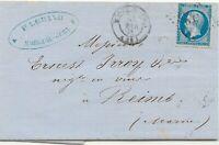 FRANKREICH 1863 20 C blau Napoleon EF Pra.-Bf, ABART: Rahmen unten gebrochen