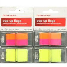 2 Packs 520 x Pop-Up Index Highlights Flags 45mm x 12mm & 45mm x 25mm Neon G2M