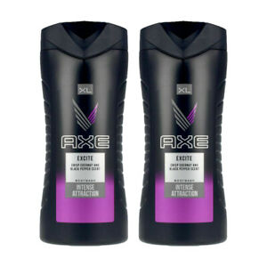 AXE Body Wash Men EXCITE Crisp Coconut & Black Pepper Scent 400ml (Pack of 2)