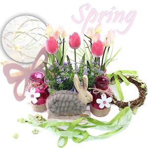 OSTERDEKO LED - SET 13 TEILE | Ostern Hase 3D Schmetterling rosa Hoz Glas Tulpe