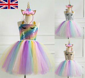 Kids Flower Girls Party Unicorn Tutu Sequin Fancy Dress Costume Headband Outfit