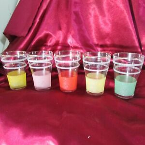 5 VINTAGE HARLIQUIN CORDIAL / WATER  GLASSES CIRCA 1950'S