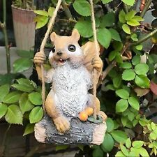Cute Squirrels Swing on Bamboo Garden Tree Fence Decor Resin Squirrel Ornament