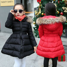 Girls Kids Parka Down Cotton Padded Fur Hooded Warm Long Jacket Coat Outercoat