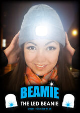 THE BEAMIE Beanie hat with LED Torch GENUINE ORIGINAL Grey One size New Gift
