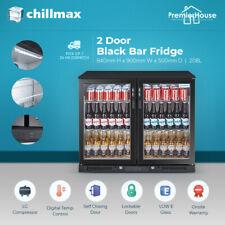 Chillmax Bar Fridge 2 Door Glass BLACK