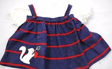 VINTAGE Nanette Baby Girls  2 in 1 Squirrel Stripe Dress & Pinafore - 12 Months