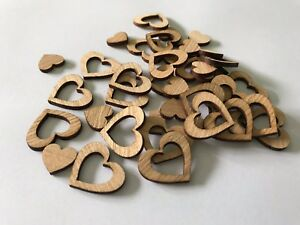 100 Scattered Decorations Wood Heart Wedding Table Set Straight Dark