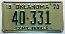 Oklahoma 1970 COMMERCIAL TRAILER License Plate HIGH QUALITY # 40-331