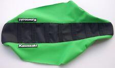 """New Black & Green Ribbed """"Kawasaki"""" Seat cover KDX200 KDX220 1995-06"""
