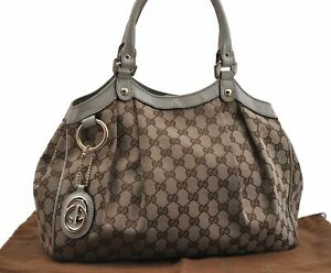 Authentic GUCCI Sukey Tote Bag GG Canvas Leather 211944 Brown White E1904