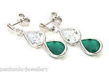 9ct White Gold Green Agate Double Teardrop earrings Made in UK Gift Boxed