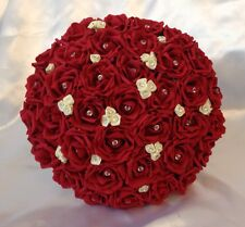 ARTIFICIAL WEDDING FLOWERS RED/IVORY FOAM ROSE WEDDING BOUQUET BRIDE