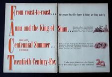 MEGA-RARE 1946 ANNA AND THE KING OF SIAM /CENTENNIAL SUMMER MOVIE TRADE PROMO AD