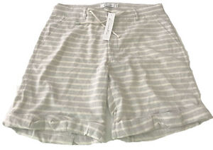 NWT KINETIX men's shorts Medium striped gray cream cotton cuffed casual $128