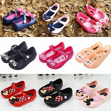 Summer Cartoon Cute Mickey Minnie Bow Cat Sandals Jelly Shoes Kids Girl Toddler