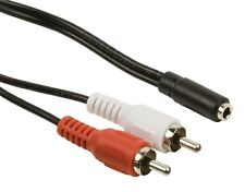 3.5mm Stereo Jack Female to 2 x RCA Male Cable 20cm
