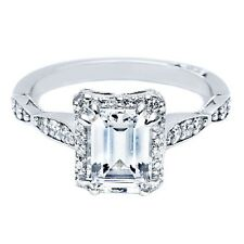 BRAND NEW Tacori 39-2EC Emerald Cut 18K White Gold Engagement Ring