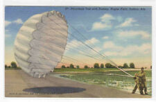 Parachute Test Dummy US Air Force Napier Field Dothan Alabama linen postcard