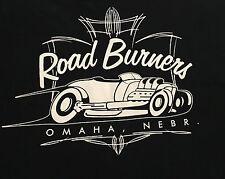 Road Burnes Hot Rot Car Club Men's Black  XL Short Sleeve T-Shirt Hanes Cotton