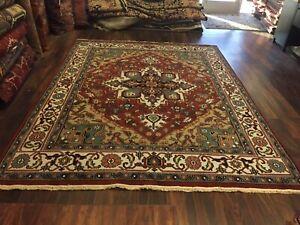 Sale Genuine Hand Knotted Indo Oushak Heriz Geometric Area Rug Carpet 8'x10'4,79