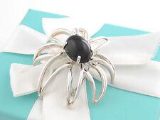 Tiffany & Co Silver Black Onyx Gemstone Fireworks Flower Brooch Pin Box Included