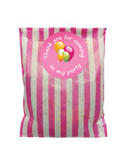 Pink & white paper party bags & 60mm party balloon stickers - 24 of each in pack