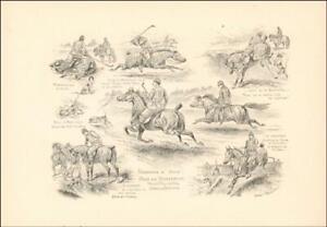 GOLF on HORSEBACK, CADDIE on SHETLAND, antique engraving original 1895*