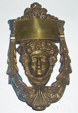 Large Heavy Antique / Vintage Solid Brass Classical Grecian Lady Door Knocker