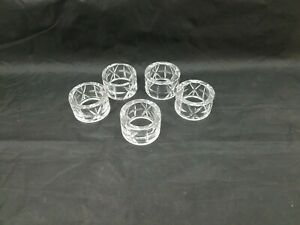 """Cut Glass Napkin Rings Set of 5 Clear Holders 1.75""""x1"""" Crystal? Round Star"""