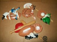 SET of 4 VINTAGE BURWOOD PRODUCT CO. PLASTIC SPORTS DECOR/ 3213-1, 2 & 3 & 3260