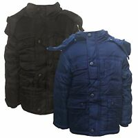 New Winter WARM Boys Jacket Detachable Hood Padded Coat Puffa Anorak 3-14 y #130