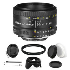 Nikon AF FX NIKKOR 50mm f/1.8D Lens for Nikon D7200 D7500 with Accessory Bundle