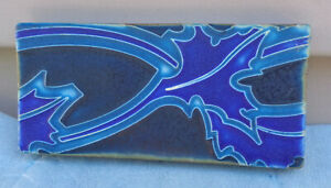 "Motawi Tileworks Ann Arbor MI 2¾"" x 5¾"" Blue Abstract Design Art Tile!"