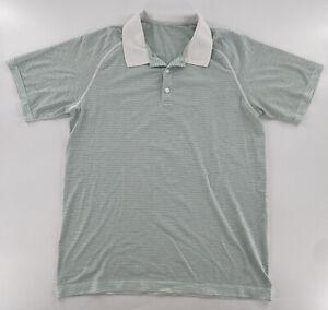 Lululemon Metal Vent Tech Men's Size Large Polo Shirt White Green Blue Stripes