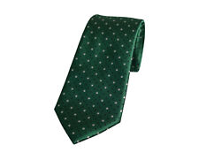 Premium Mens Tie Polka Dot Green & White Black Silk T55