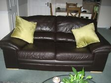 Brown Leather 2-3 Seated Sofa in good condition