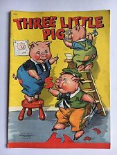 """THREE LITTLE PIGS"" & the BIG BAD WOLF! 1942 nursery rhyme VIVID COLOR ART mag"