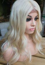 Human Hair Lace Front Part Wig, Light Blonde Wig, Platinum Bleach Blonde 613