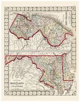 Old Vintage Map of Maryland Delaware and New Jersey Mitchell 1874