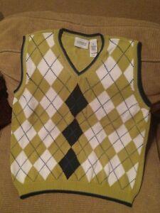 Liz Golf arygle vest sz.M chartreuse/blue/white sweater sport field attire style