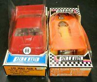 Vintage (2) Parma 1:24 Scale Slot Cars (426-E Fiero & 426-A ASA Camaro) Very GD