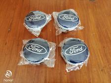 SET OF 4 BRAND NEW 54mm FORD ALLOY WHEEL CENTER CAPS DARK BLUE X4