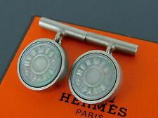 Authentic HERMES CLOUS DE SELLE Shell Silvertone Cufflinks + Box