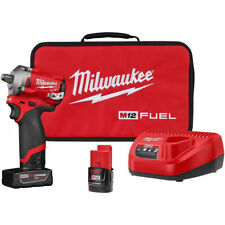 "Milwaukee 2555-22 M12 FUEL Stubby Cordless 1/2"""" Drive Impact Gun Wrench Kit"